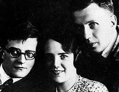 Photograph of Shostakovich, his first wife Nina and their friend Sollertinsky dated 1932